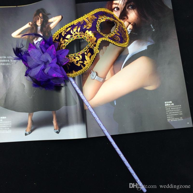 Women Mask On Stick Sexy Eyeline Venetian Masquerade Party Mask Sequin Lace Edge Lateral Flower with 7 optional Colors