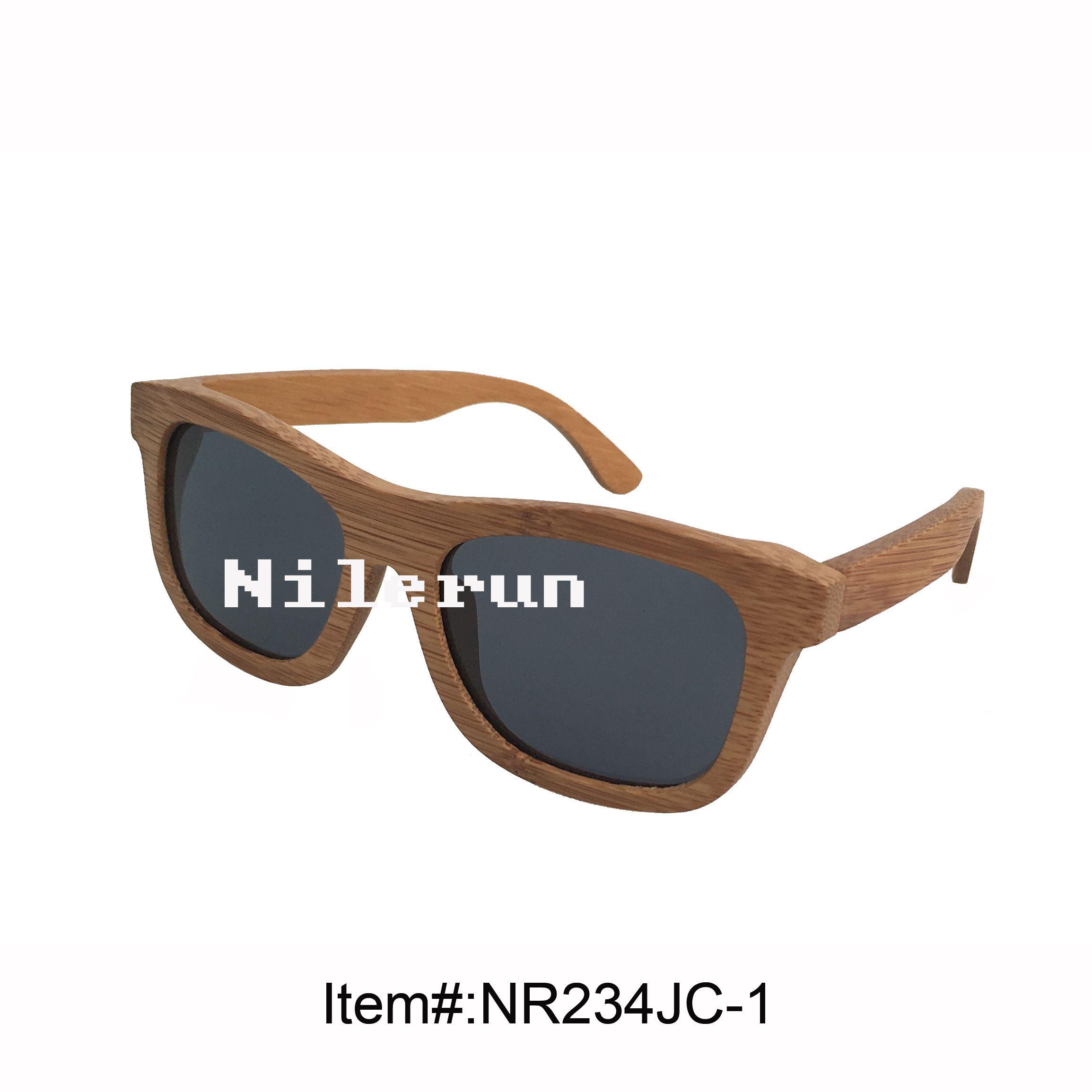 lunettes de soleil en bambou polarisées grises pour hommes unisexes