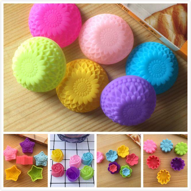 Nuevo diseño en forma de flor moldes de respaldo cupcake de silicona Muffin moldes en 5 formas para hornear pasteles utensilios de cocina