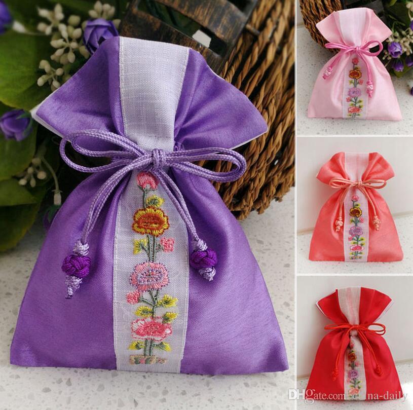 Gratis schip 20 stks (12 * 15 cm 15 * 19 cm 19 * 24 cm) Korea handgemaakte borduurbrocade brocart tas sieraden tassen snoep kralen tassen bruiloft gift bags