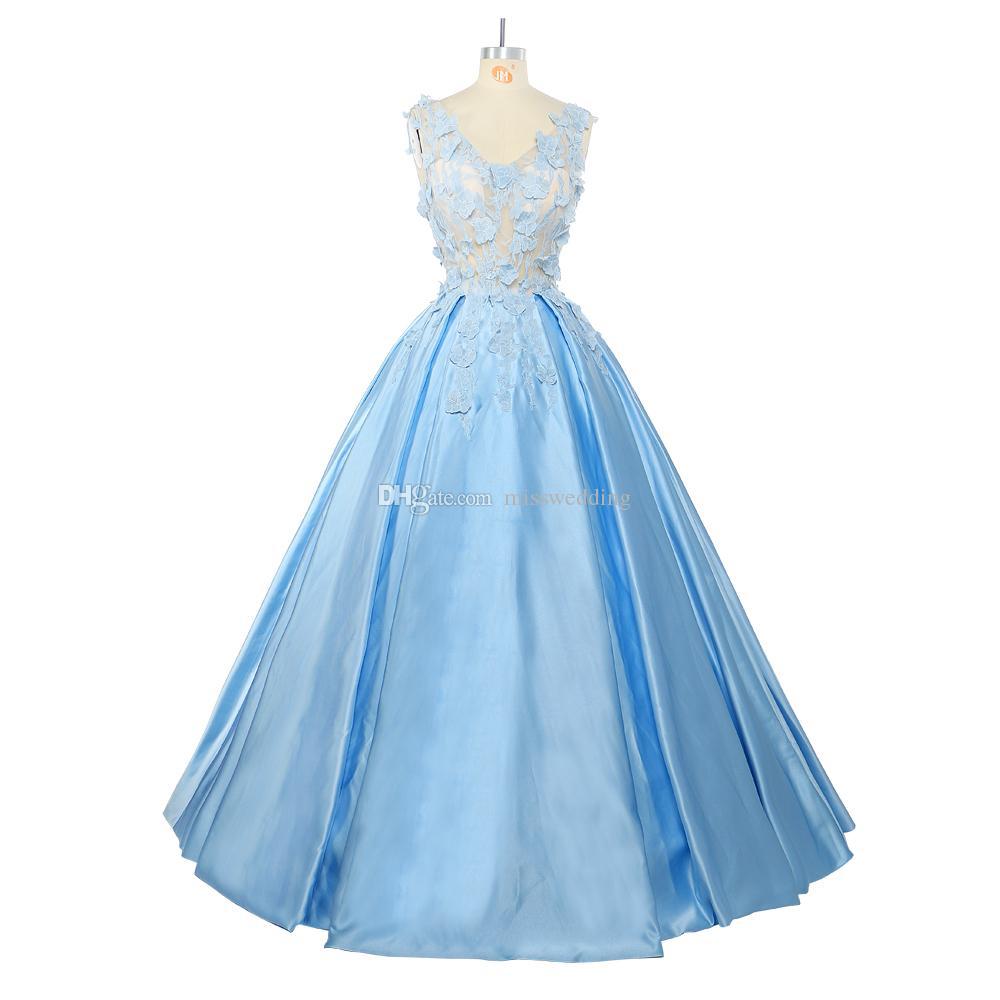 Großhandel Gute Qualität Spitze Quinceanera Kleid Ärmelloses Ballkleid  Hellblau Durchsichtig Mieder Celebrity Dress Teppich Von Misswedding, 17,17  €