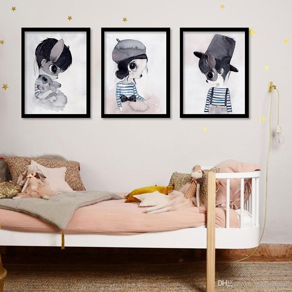 Cute Rabbit Girl Posters Wall Art Canvas Painting Nordic Posters And Prints Art Print Wall Pictures For Living Room Nursery Decor No Frame