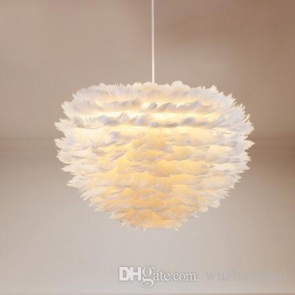 꽃 드롭 윈드 드롭 라이닝 로비 침실 식사 거실 현대 깃털 LED 펜 던 트 램프 화이트 패션 샹들리에 매달려 빛