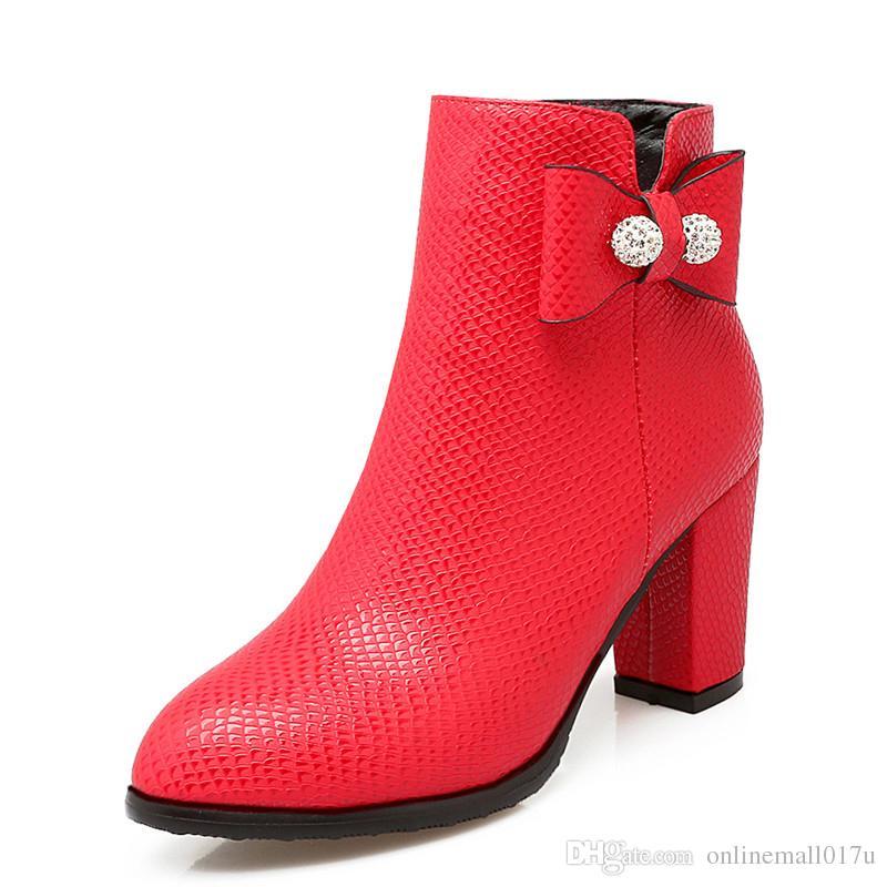 Stivaletti da donna Plus Size 34-43 Tacco quadrato Zip Punta tonda Classico Scarpe da donna alla moda Nero Bianco Rosso