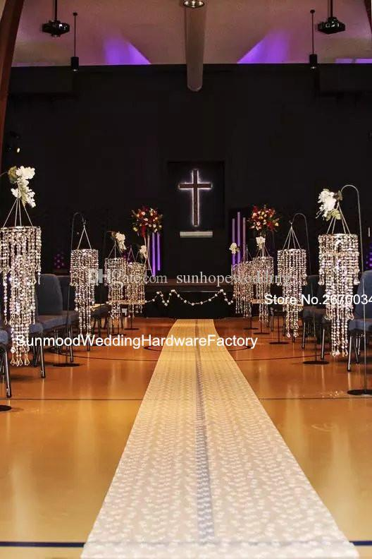 use for hangging only )Decorative iridescent acrylic chandelier column , Hanging crystal lighted beaded column for weddings