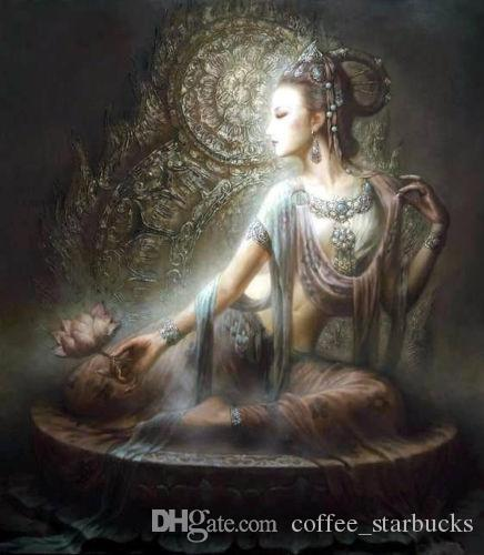 Framed Dunhuang flying beauty seated holding lotus flowers,Hand-painted portraits Art Oil painting High Quality canvas,Multi sizes DH060