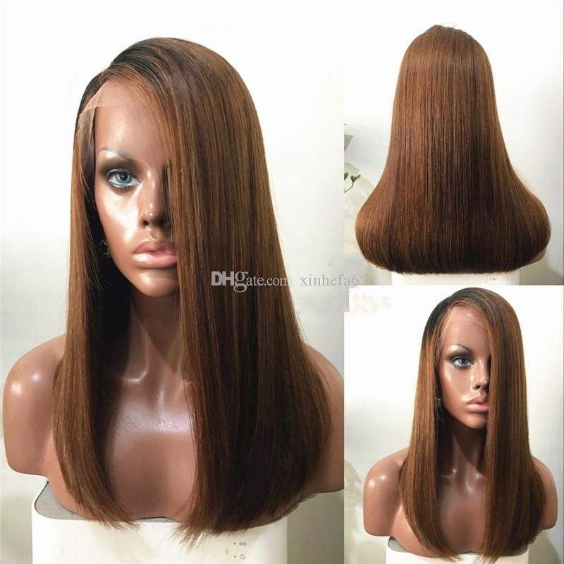 Ombre 1B #30 Straight Full Lace Wig Pre plucked 130% Density Lace Front Wig Brazilian Virgin Human Hair Wig with Dark Black Roots