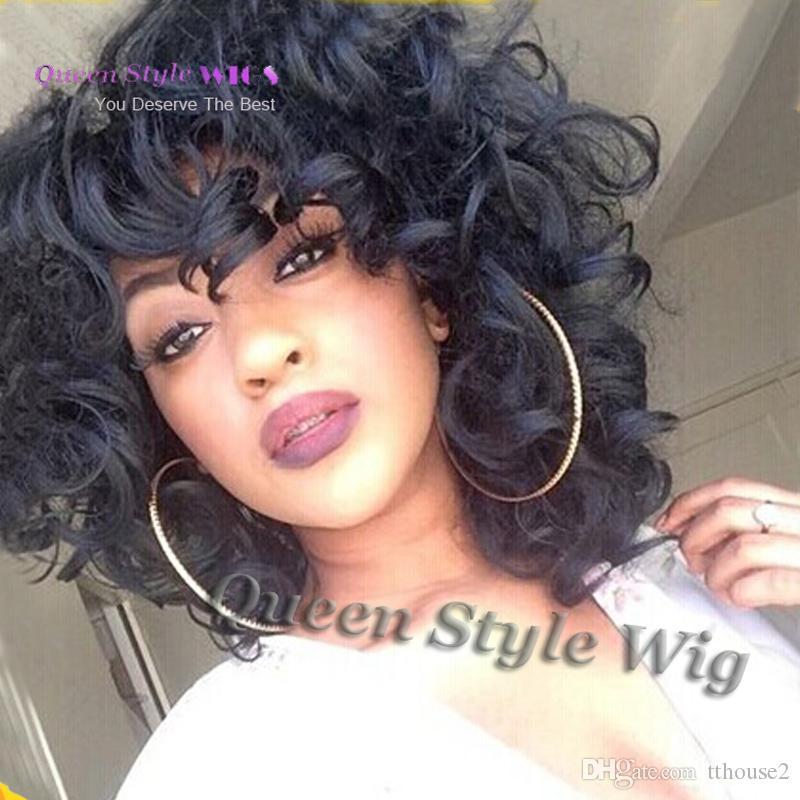 Vendita calda Celebrity Rihanna breve sciolto parrucca colore nero onda, morbido sintetico resistente al calore capelli afro-americani parrucche per donna nera