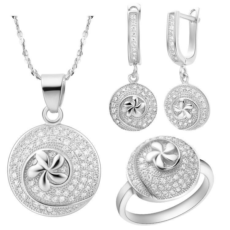 NUOVO set di abiti in argento sterling 925 con gioielli in cristallo rosa Austria
