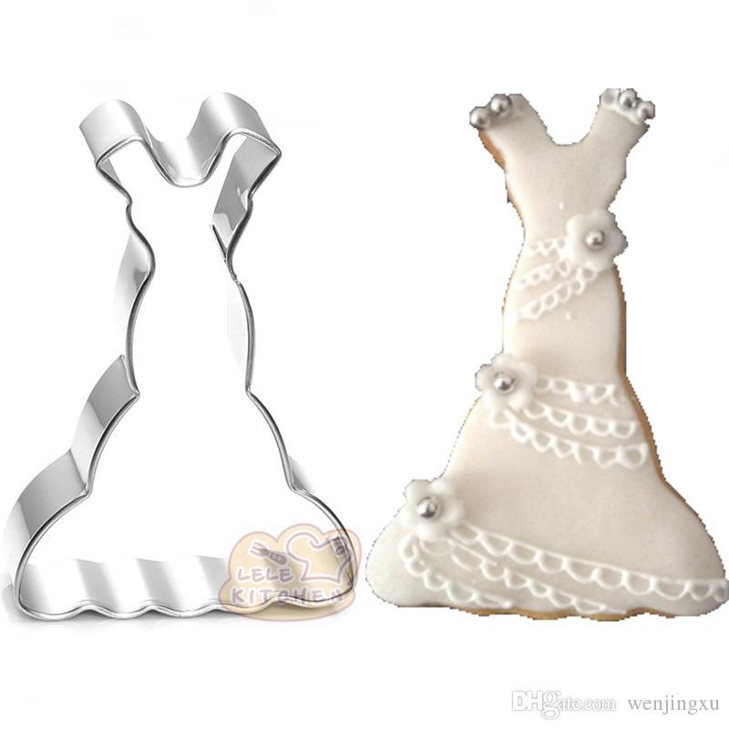 10pcs Fishtail wedding Wave evening dress cookie cutter metal biscuit mold patisserie fondant cake decorating tool BG028 5.7*8.3cm