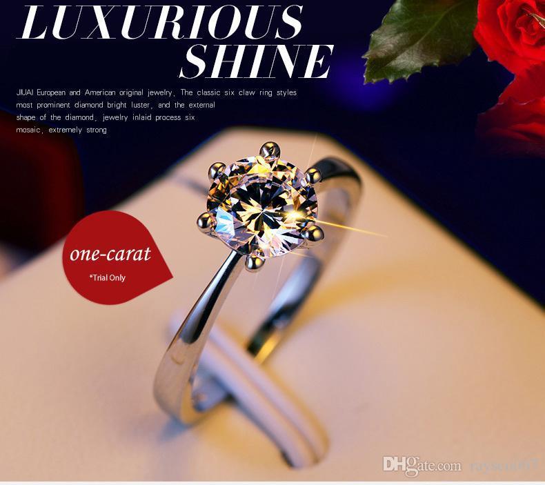 Clássico 4 tamanho um quilate 6 garras CZ diamante Anéis para mulheres 925 anel de prata Jóias banhado a ouro branco par anéis casamento