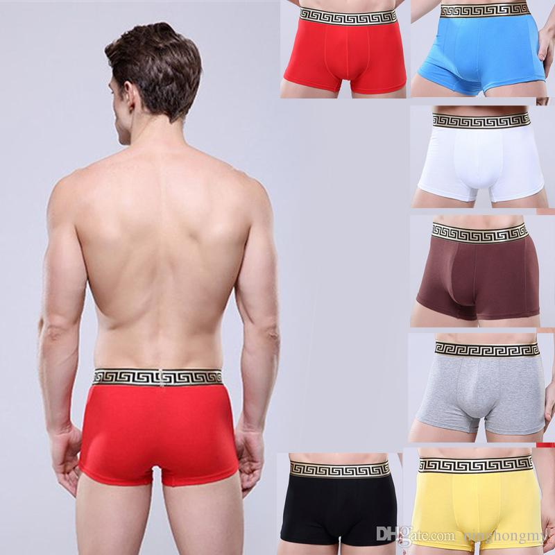 Fashion Men U Convex Design Breathable Underwear Gay Hollow Out Penis pocket Men Boxer Comfortable Modal Sexy Shorts Golden belt Underpants