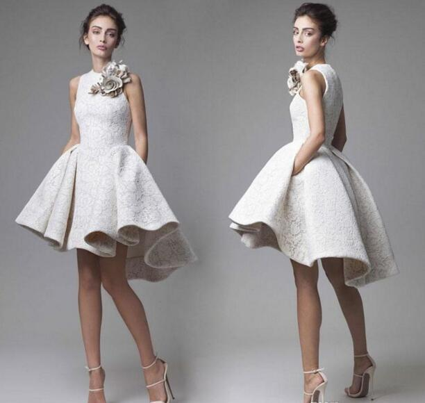 2017 Krikor Jabotian Lace Short Cocktail Dress Short Front Long Back with Flower Decorations High Low Short Prom Homecoming Dress