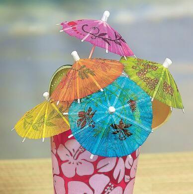 50 pcs / lot Papier Cocktail Parasols Parapluies boissons pics de mariage Event Party Supplies Vacances luau bâtons