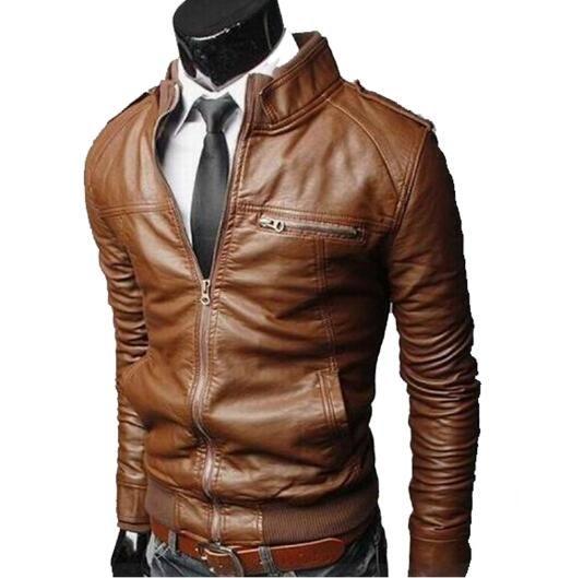 Venta al por mayor- 2016 ropa de cuero superior de cuero de la cremallera masculina ocasional del collar del soporte agua lavado motocicleta chaqueta de cuero de los hombres