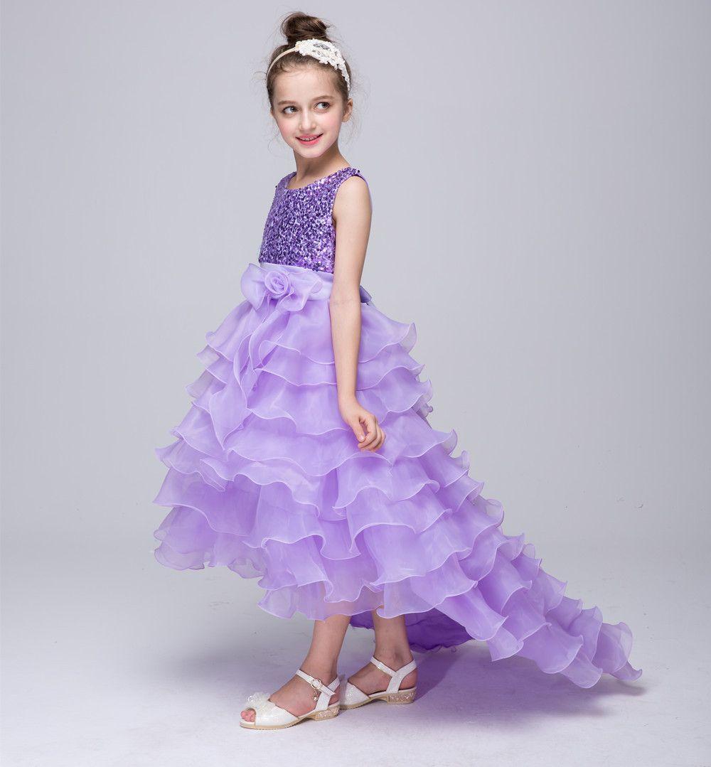 Großhandel Bogen Mädchen Ballkleider Kinder Pailletten Kuchen Kleid ...
