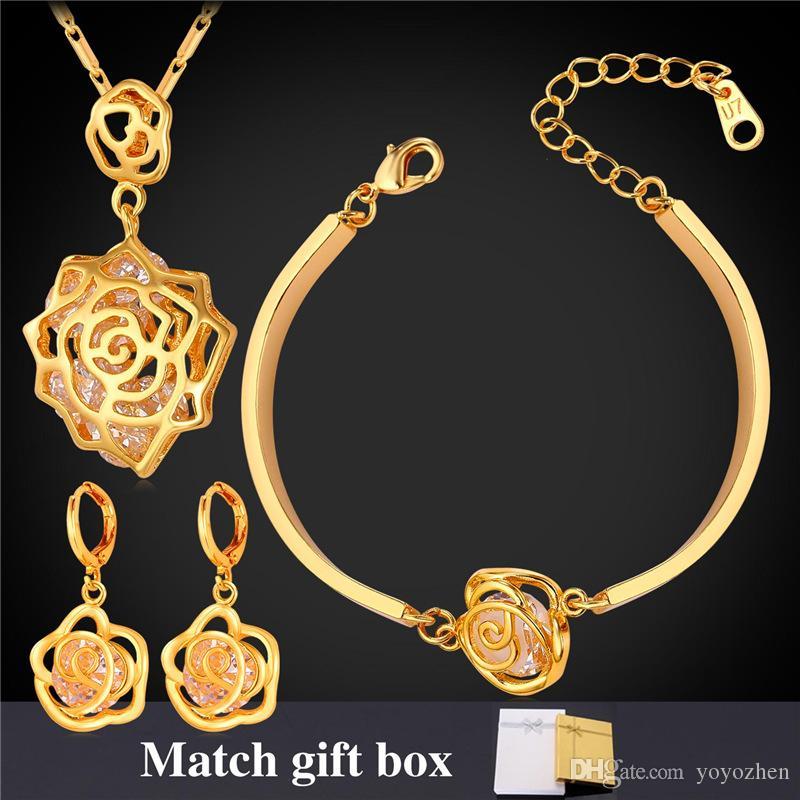Eleganti pendenti con ciondoli rosa pendenti con ciondoli Bracciali pendenti con 18 carati placcato oro reale Cubic Zirconia Party Jewelry
