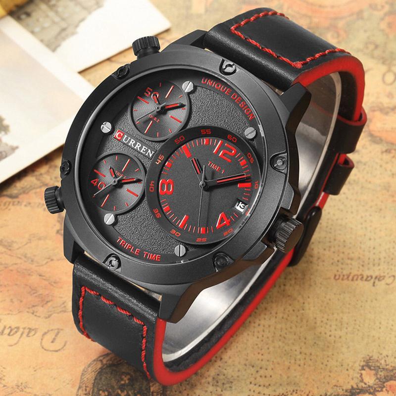Curren Men Watches Leather Strap Quartz Watch Men Analog Casual Multiple Time Zones Sports Wrist Watch Relogio Masculino 8262