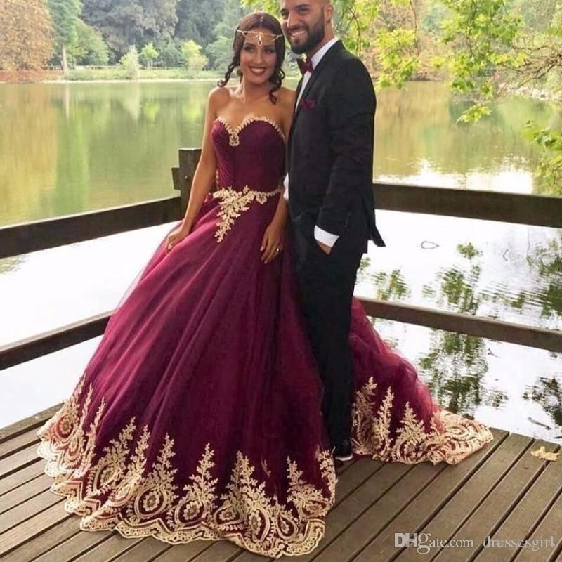 669eb46d9d887 Discount 2017 Hot Selling Gold Appliques Wine Ball Gown Wedding Dresses  Sweetheart Tulle Floor Length Burgundy Bridal Gowns Arabic Cheap Muslim ...