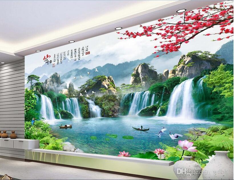 3D 벽지 사용자 정의 사진 부직포 벽화 산 폭포 호수 보트 장식 그림 그림 벽 3 차원 벽 벽면 벽지 3 d
