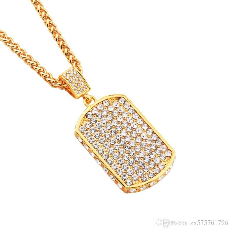 Men Iced Out Fully Rhinestone Dog Tag Pendant Necklace Hip Hop Bling Fashion Jewelry 18k Gold Plated 75cm Long Chain