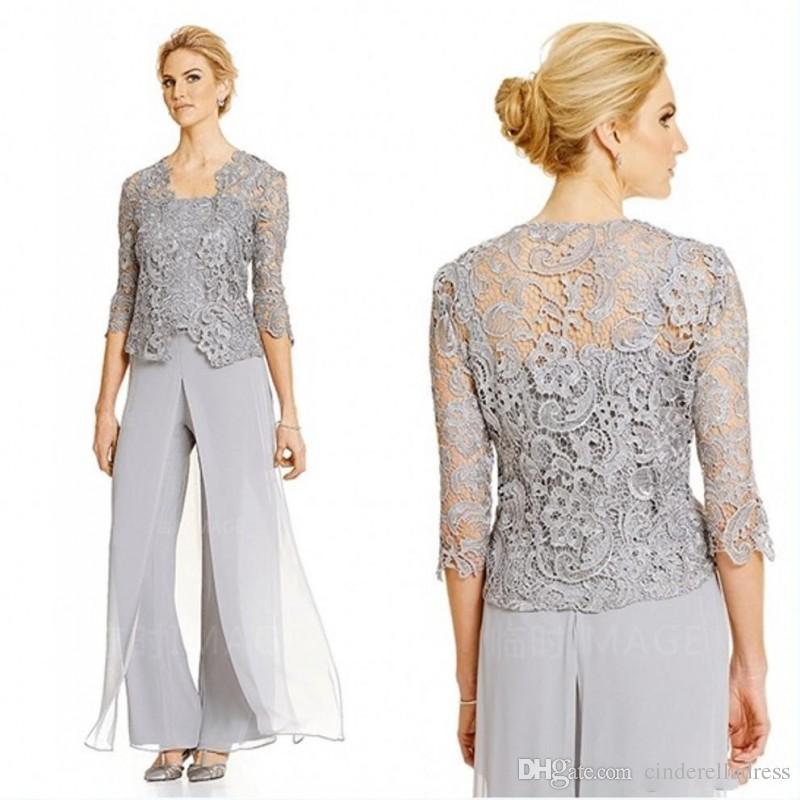 2020 Dantel Gümüş Anne Gelin Damat Elbiseler Ile Pantolon Suits Uzun Kollu Ceket Şifon Plaj Artı boyutu Düğün Konuk Parti Elbisesi