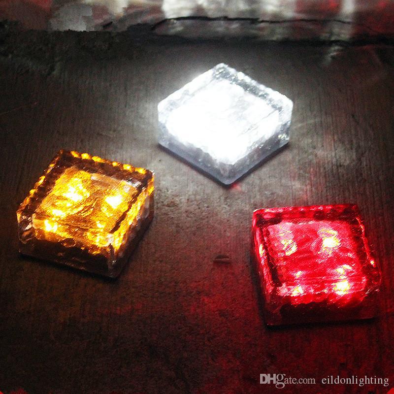 LED Solar Ground Lights 4LEDs vetro temperato + ABS Garden Path Prato Lampade Outdoor impermeabile Illuminazione Decorazioni Paesaggio Casa Yard Cina