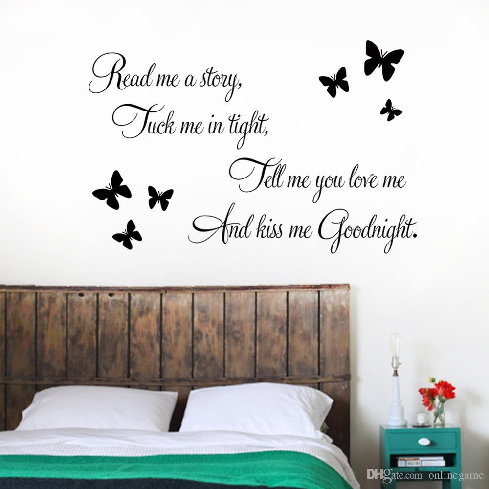 ''Tell me you love me Kiss me Goodnight'' butterflies DIY Removable Art Vinyl Quote Wall Sticker Decal Mural Home decoration