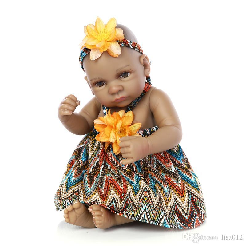 10 дюймов афроамериканец детская кукла черная девушка кукла полное силиконовое тело bebe recorn baby куклы дети подарки детские игрушки играют игрушки детские игрушки