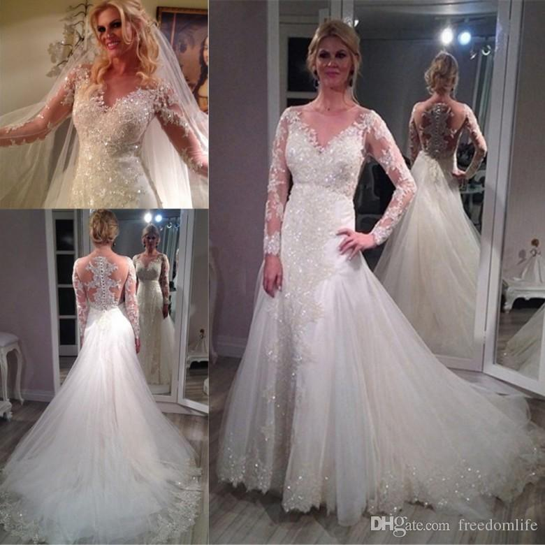 Sparkle Sheer Scoop Long Sleeve Wedding Dresses 2017 Lace Court Train Applique Vintage Bling Sequins Bridal Gowns Cheap Lace Wedding Gown Mermaid Gowns From Freedomlife 146 34 Dhgate Com,Plus Size Lace Wedding Dress With Sleeves