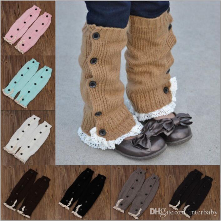Lace Crochet Boot Cuffs Ballet Knit Leg Warmers Baby Buttons Trim Boot Cuff Christmas Leg Warmers Boot Socks Covers Knee High Socks B2606