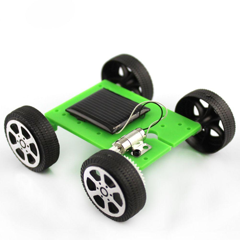 Toptan-MINIFRUT Yeşil 1 adet Mini Güneş Enerjili Oyuncak DIY Araç Kiti Çocuk Eğitim Gadget Hobi Komik