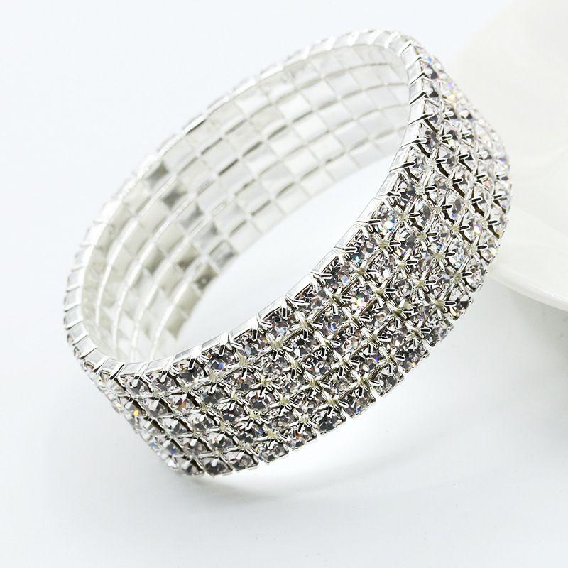 2925d4591 Luxurious Multi Rows Diamond Bracelets For Women Elastic Cubic Zircon Diamond  Bracelets Crystal Rhinestone Elastic Bangles Bracelet Jewelry