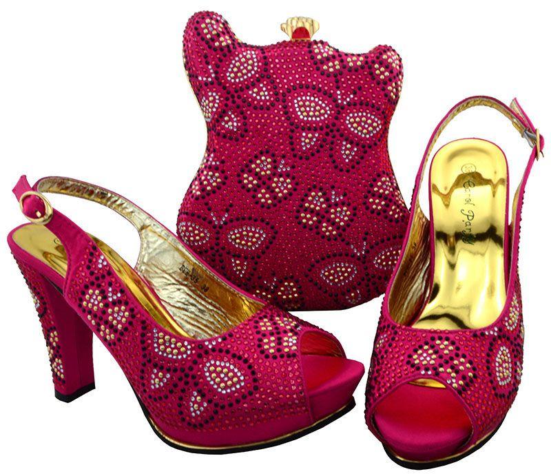 Venda quente fúcsia africano sapatos jogo saco conjunto com strass senhora shoew salto alto e bolsa para vestido BCH-35, calcanhar 11.5 CM