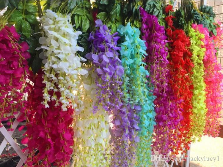 """110CM 43.3 """"lange hohe künstliche Glyzinienblume 36pcs / lot silk Glyzinien, die dekorative Blumen 36pcs / lot wedding sind"""