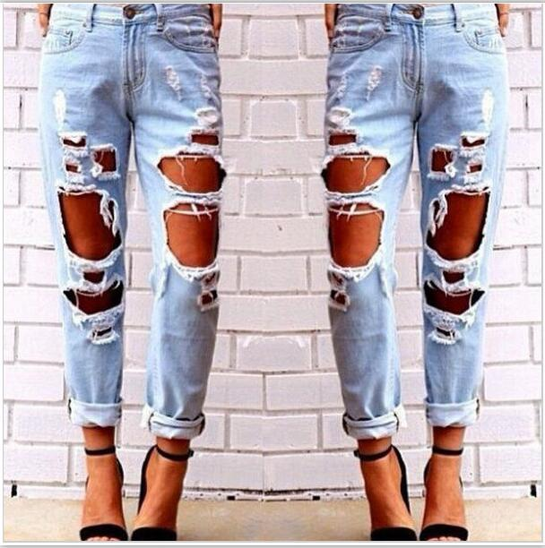 Sexy Exaggeration Will Holes Catch Broken Beggar Boyfriend Jeans Dot Women