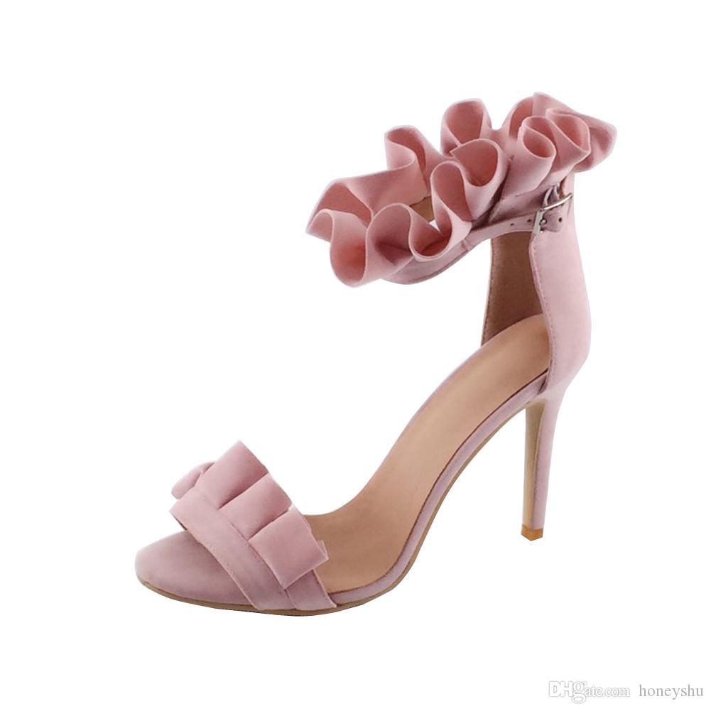 Kolnoo 여자 핸드 메이드 고유 버클 오픈 정면 높은 스틸 레토 힐스 Dressy 앵클 스트랩 샌들 신발 핑크 XD350