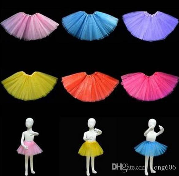 14 colors Top Quality Candy Color Kids Tutus Skirt Dance Dresses Soft Tutu Dress Ballet Skirt 3 Layers Children Pettiskirt Clothes