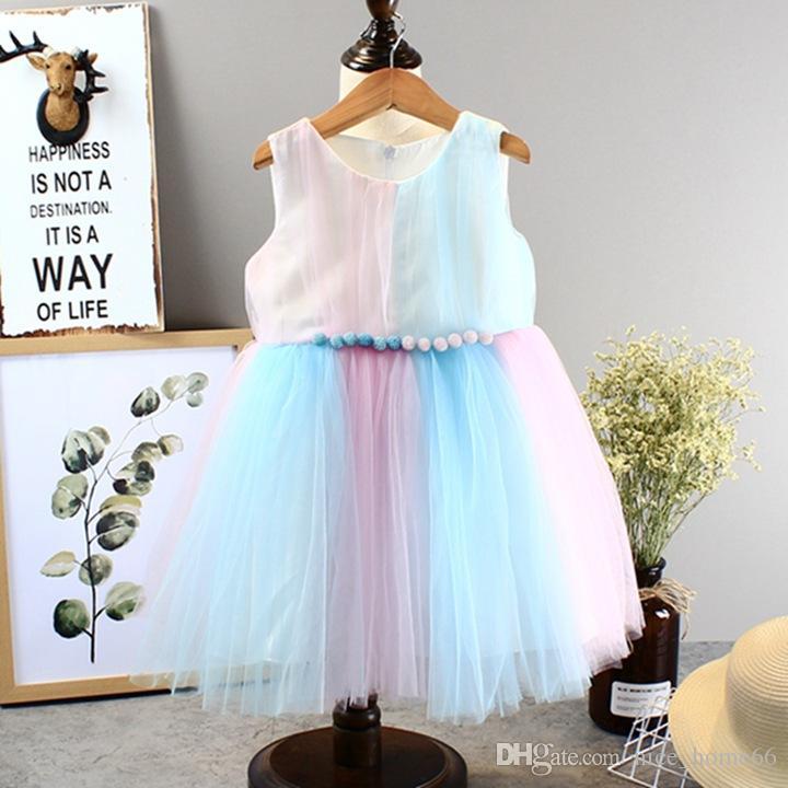 Summer Baby Girl Dress Girls Sleeveless Vest Lace Princess Dresses Kids Girls Rainbow tutu Dress Beach Dresses Kids Summer Clothing