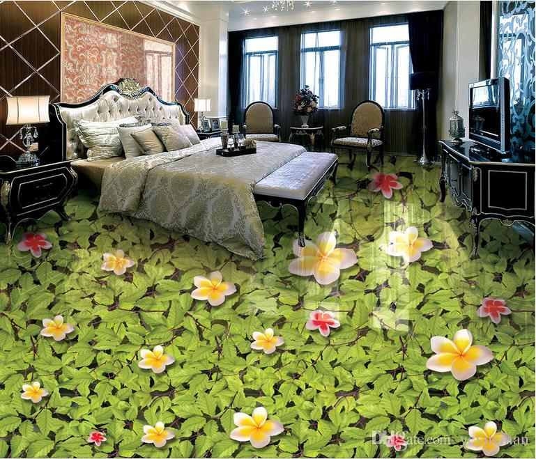 Waterproof Wallpaper Customized 3d Floor Magnolia Leaves Mural ...
