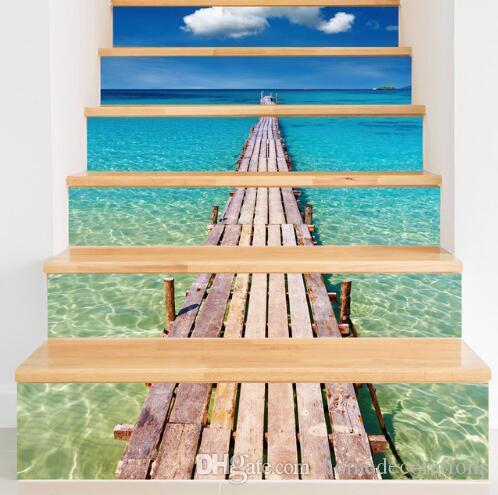 Escaleras de playa Pegatinas de PVC Impermeable Pegatinas de Pared Accesorios Decorativos Cartel de La Pared Para Kidsroom Living Room Stickers