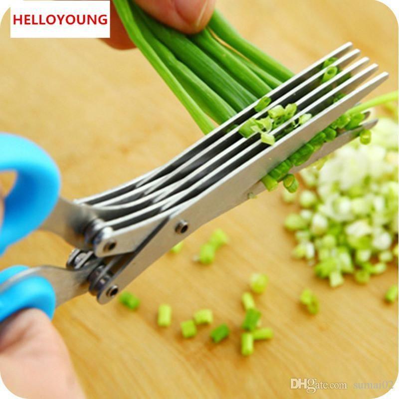 rastgele gönderilen D067 Paslanmaz Çelik 5 Bıçak Herb Makas Temizleyici Bıçaklar Mutfak Aracı Ev meyve sebze araçları Renk