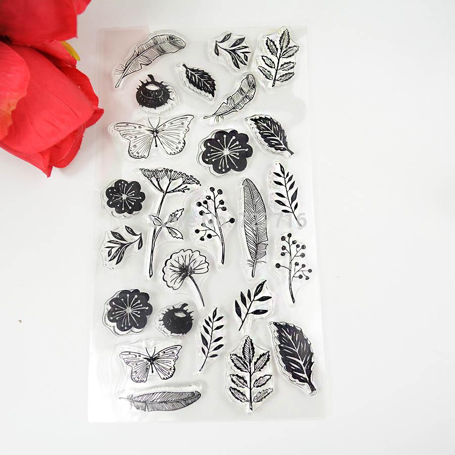 Wholesale Tpr Silicon Clear Stamp Feather Flowers Butterfly Stamp ...