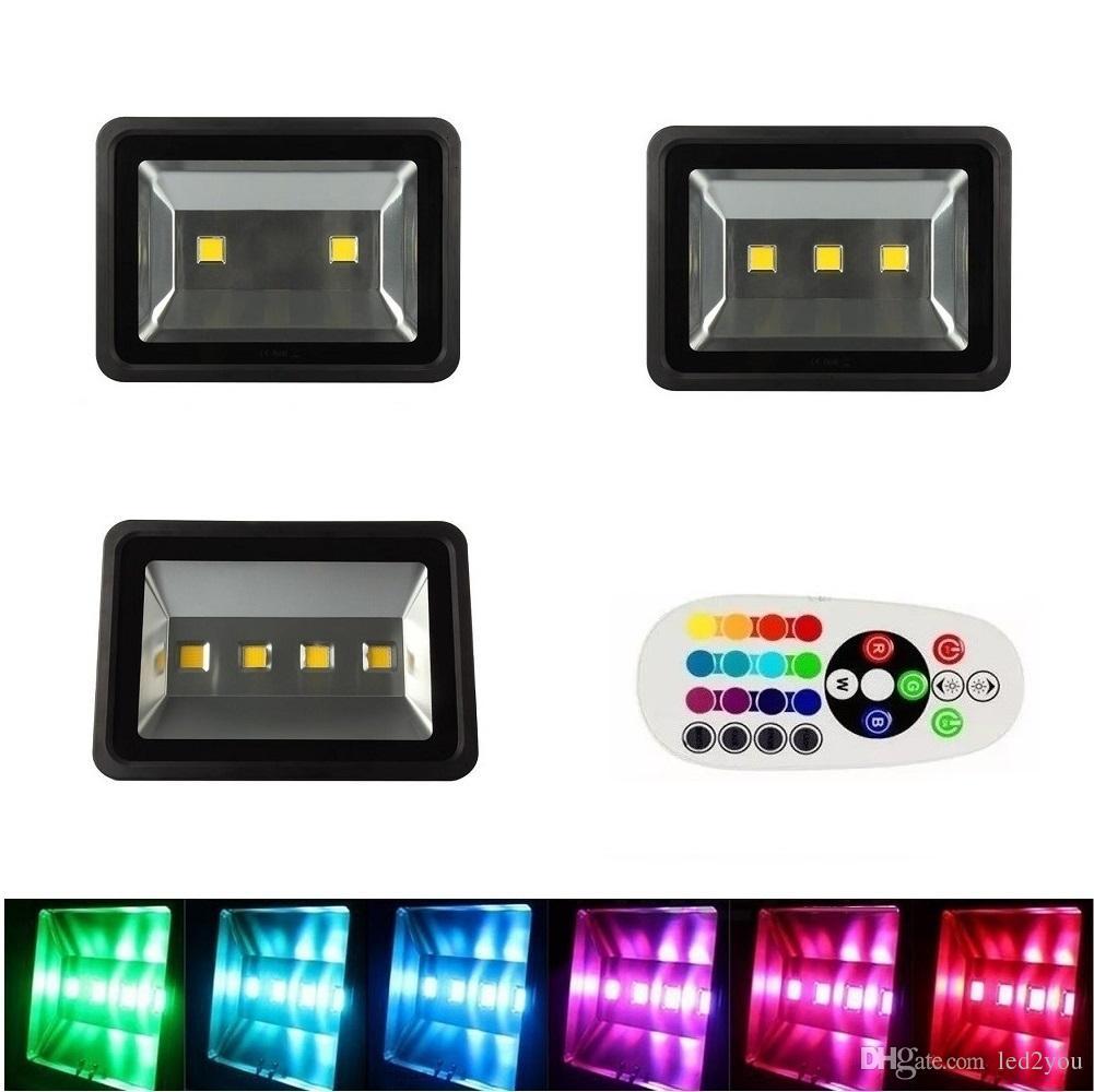 200 W 300 W Uzaktan Kumanda Ile 400 W RGB Led Sel Işıkları renk değişimi peyzaj aydınlatma için su geçirmez açık led projektörler Senkronize
