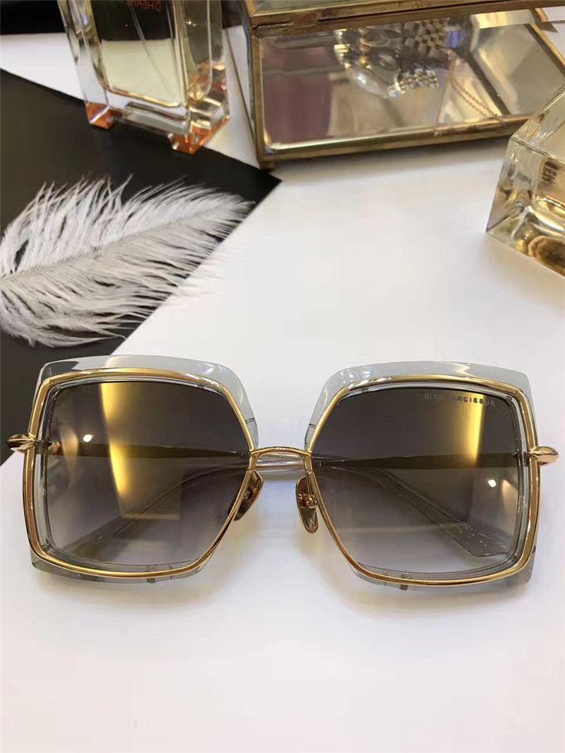 Квадратные черные золотые солнцезащитные очки в сером градиентном линзе Солнцезащитные очки Женщины Солнцезащитные очки Пляж Новый с коробкой