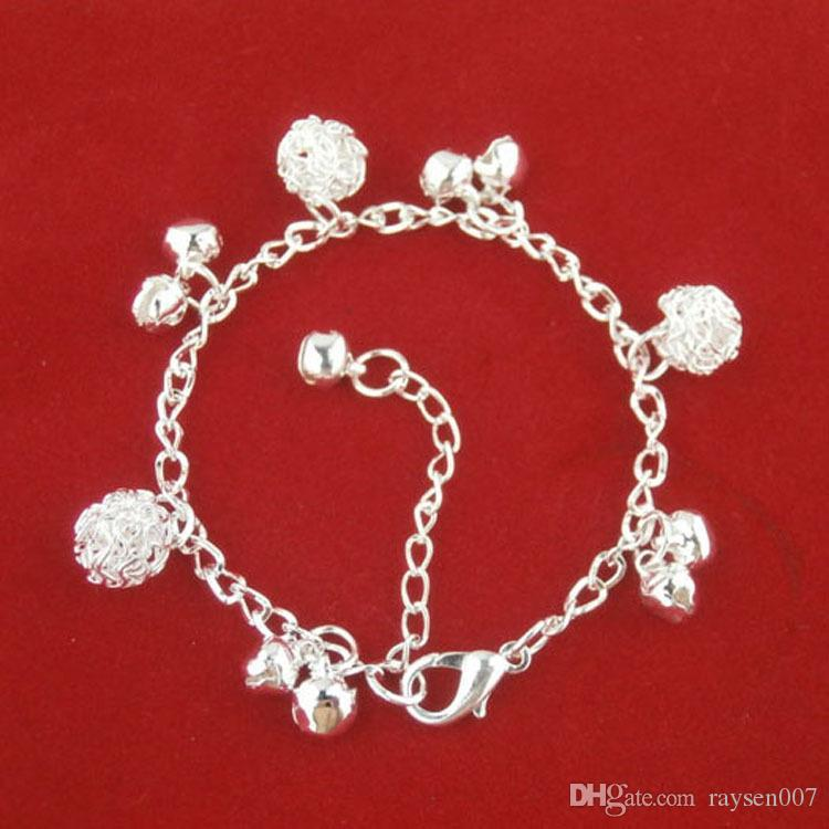 2017 Fashion Jewelry 925 Silver Jingle Bell Charms Bracelets Bangles National Style Silver Chain Bola Bell Bracelet Anklet for Women