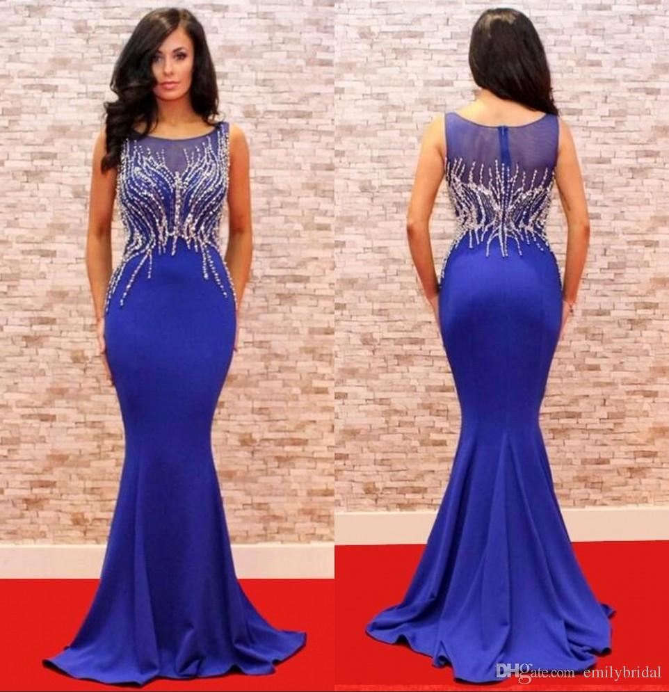 Elegant Mermaid Style Blue Evening Dresses Long Crystal Beads 2017 ...