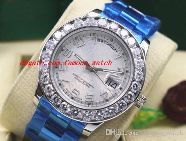최고 품질 럭셔리 손목 시계 18k 화이트 골드 41MM 큰 다이아몬드 시계 자동 태엽 시계