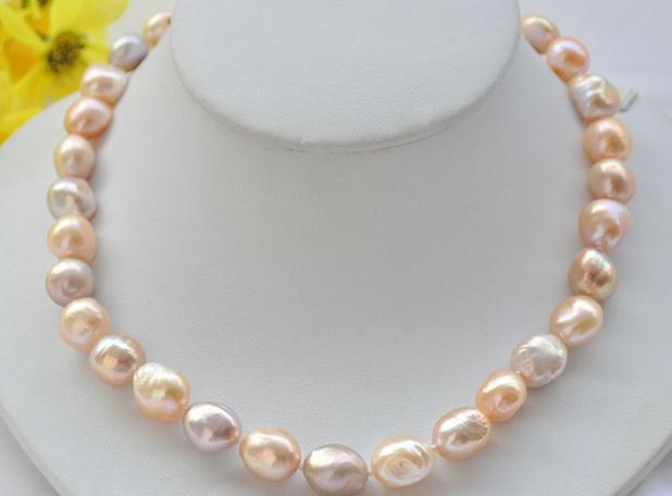 9-11 mm Pink Barroco Collar de gargantilla de perlas Perlas de agua dulce naturales Collar hecho a mano 18 pulgadas 925 corchete