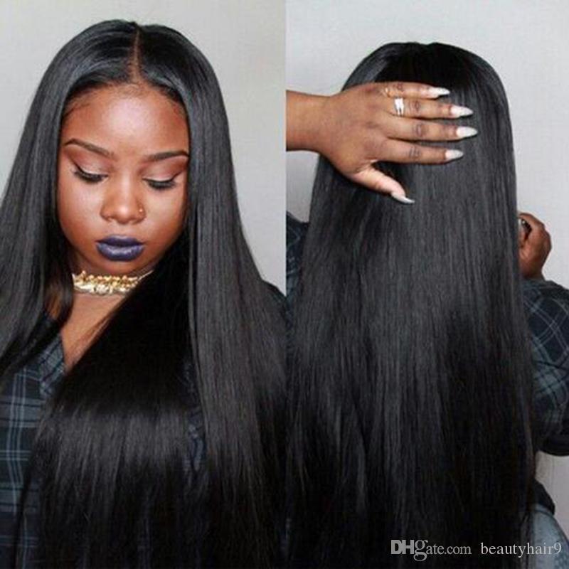 stokta En Çok Satan uzun düz peruk Simülasyon insan saçı siyah uzun ipeksi düz tam peruk
